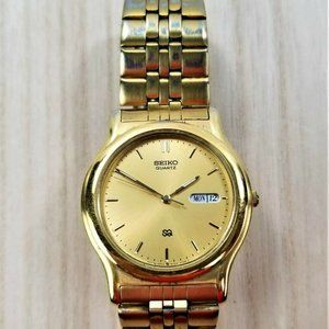 VINTAGE SEIKO Quartz Men's Watch Gold Tone Band